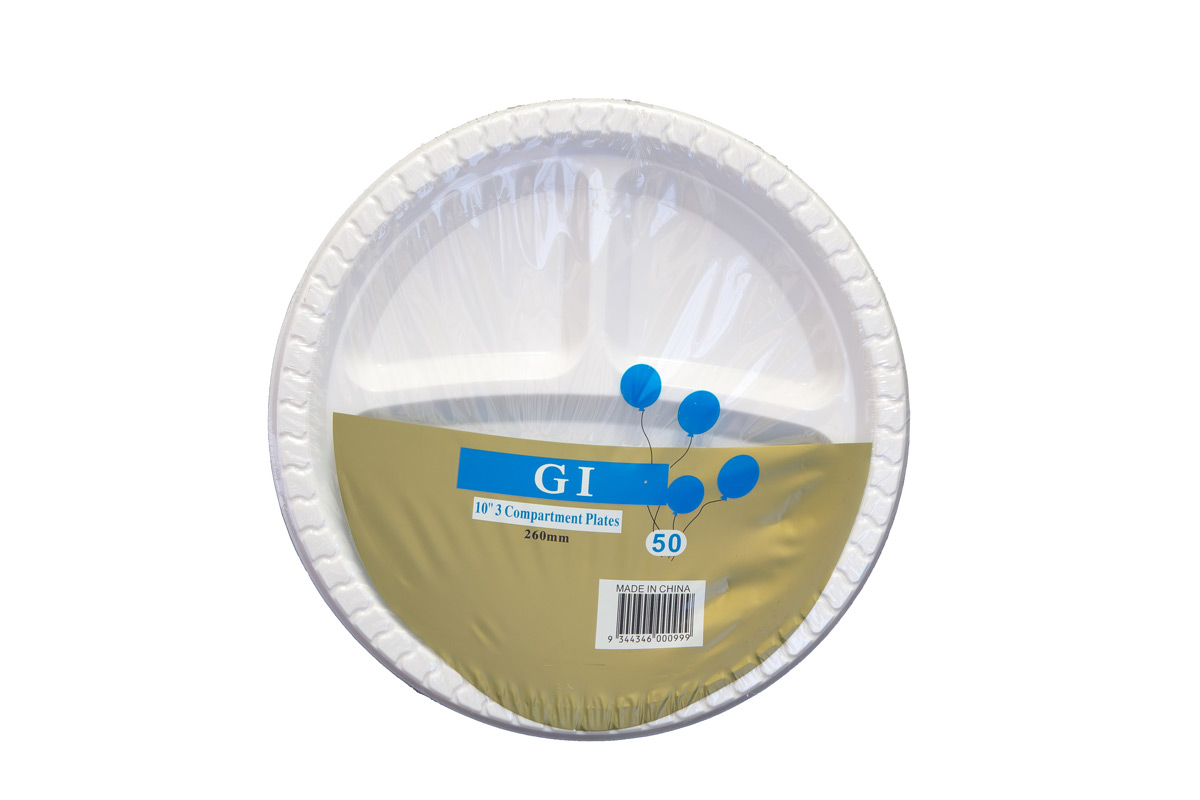 9 inch COMPARTMENT Plastic Plates Qty 500 (50x10) 14gm